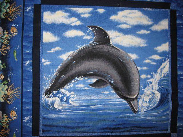 Dolphins sea ocean scene Fabric pillow panels set of two pictures