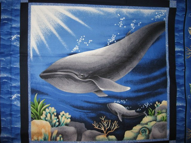 Whale in a sea ocean scene Fabric pillow panels set of two pictures the same