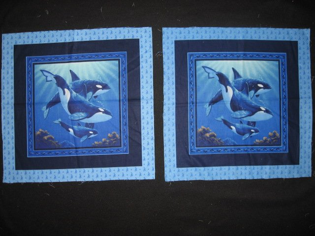 Picture of three Whales in the sea ocean Scene Fabric pillow panel