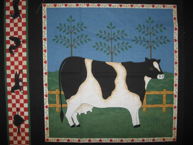 Cow farm with Weather Vanes and Hearts Pillow panel fabric rare