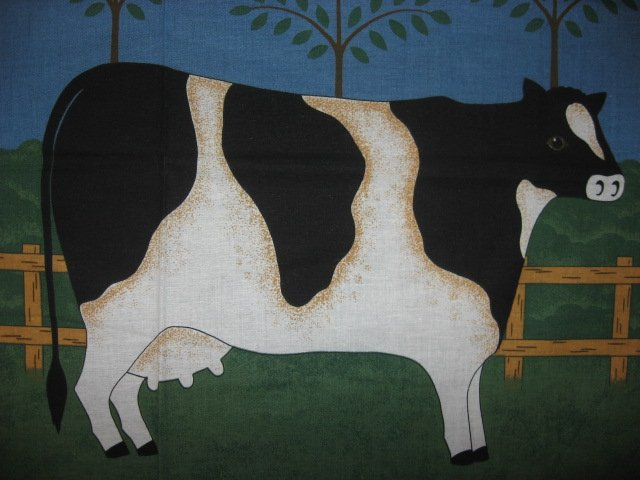 Image 1 of Cow farm with Weather Vanes and Hearts Pillow panel fabric rare