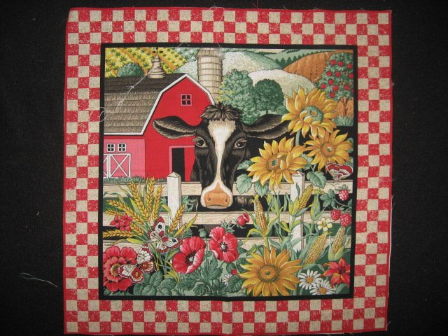 Cow farm barn Sunflower Poppy Corn Country Fabric pillow panel