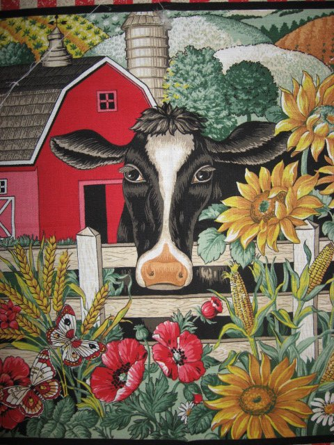 Image 1 of Cow farm barn Sunflower Poppy Corn Country Fabric pillow panel