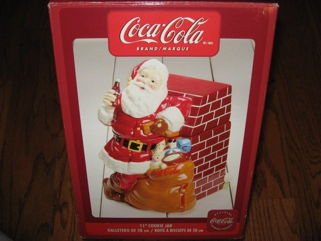 Coca-Cola Christmas Santa Ceramic Cookie Jar Excellent Condition Haddon Sunblom