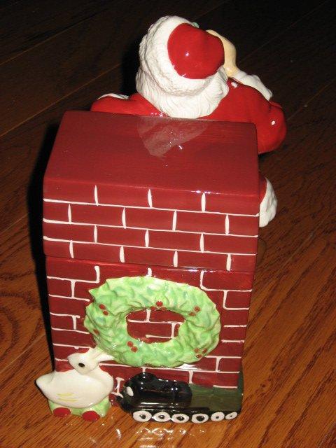 Image 2 of Coca-Cola Christmas Santa Ceramic Cookie Jar Excellent Condition Haddon Sunblom