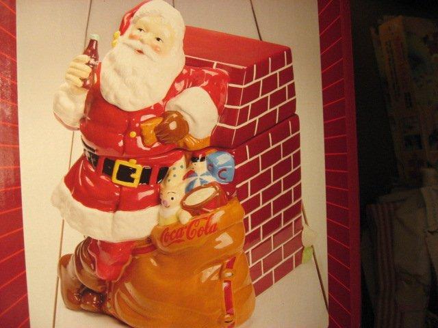 Image 5 of Coca-Cola Christmas Santa Ceramic Cookie Jar Excellent Condition Haddon Sunblom