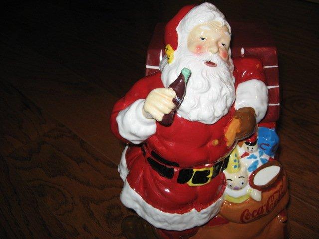 Image 6 of Coca-Cola Christmas Santa Ceramic Cookie Jar Excellent Condition Haddon Sunblom