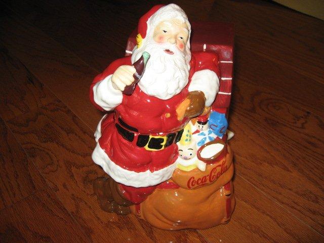 Image 1 of Coca-Cola Christmas Santa Ceramic Cookie Jar Excellent Condition Haddon Sunblom