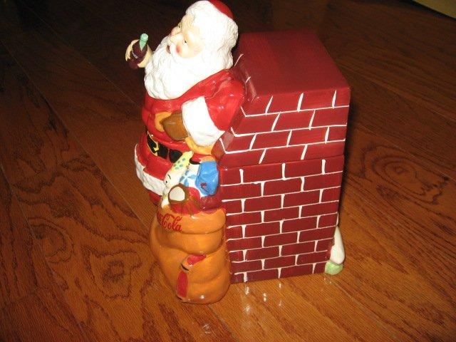Image 4 of Coca-Cola Christmas Santa Ceramic Cookie Jar Excellent Condition Haddon Sunblom