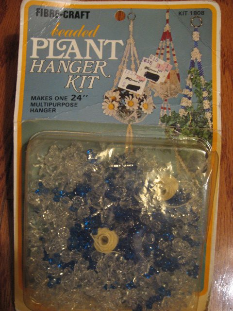 Image 0 of Vintage Unopened Clear blue Beaded Plant Hanger Kit Fibre-craft vintage 1978