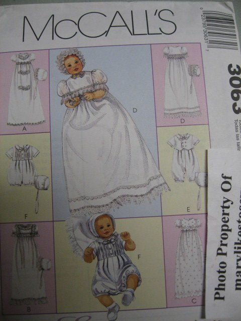McCall's 3063 Pattern Uncut Baby Christening Gowns Romper Boy Girl All Sizes