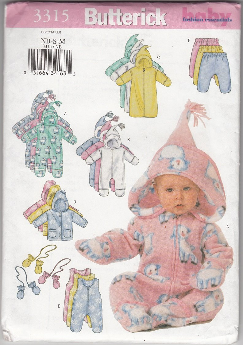Butterick 3315 Sewing Pattern Baby Bunting Jacket Pants Mittens newborn to med