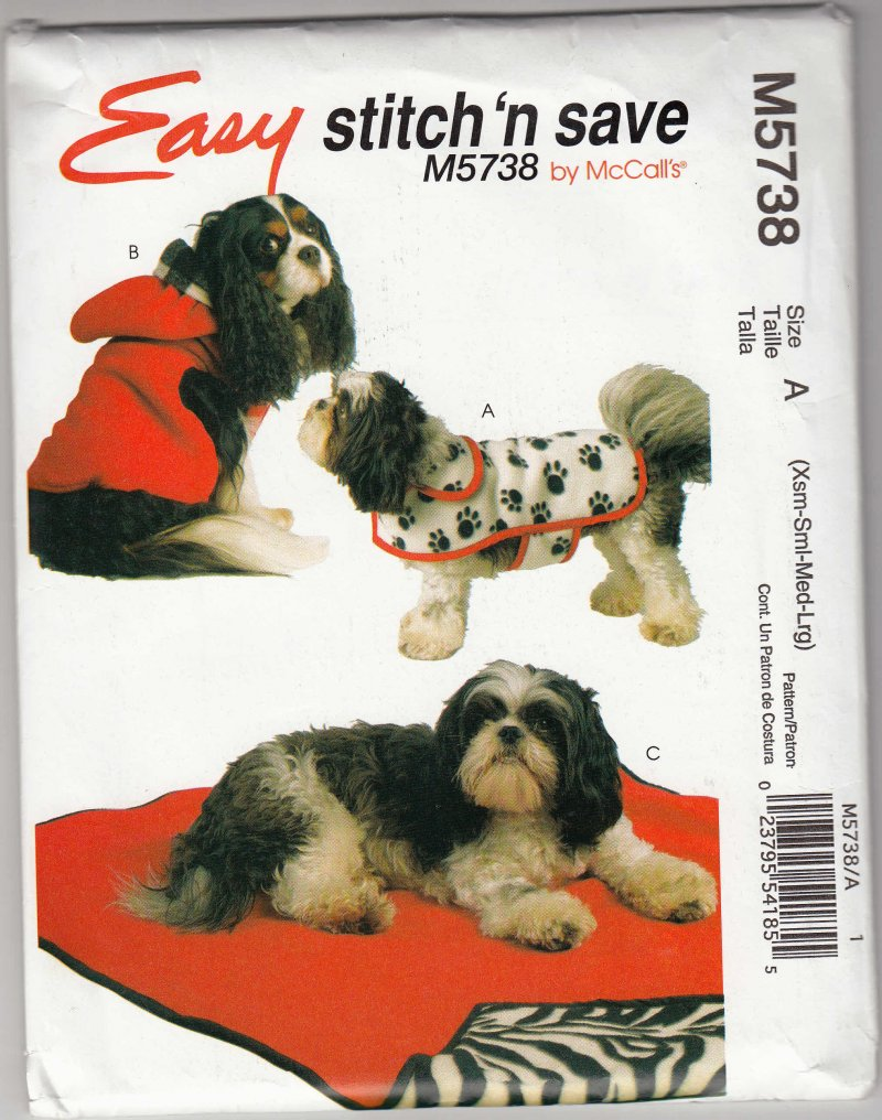 McCall's 5738 Pattern New Uncut Dog Coats Mats Extra Small to Large