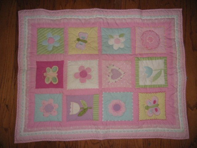 Floral and butterfly quilt and matching bumper pad for Baby girl Gift by Circo