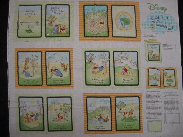 Winnie the Pooh Tigger Piglet Eeyore woods baby soft book fabric Panel to sew /