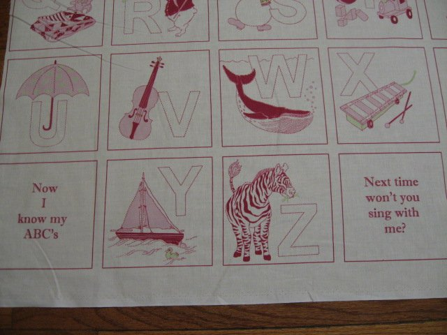 Image 1 of Child Alphabet red work Cotton Fabric Quilt Wall Throw Panel to sew
