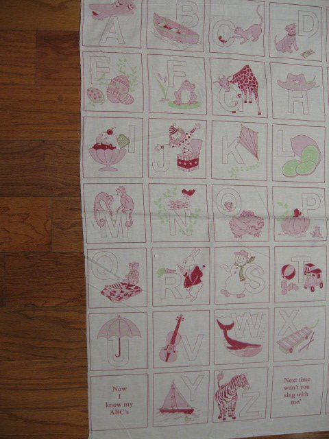Child Alphabet red work Cotton Fabric Quilt Wall Throw Panel to sew