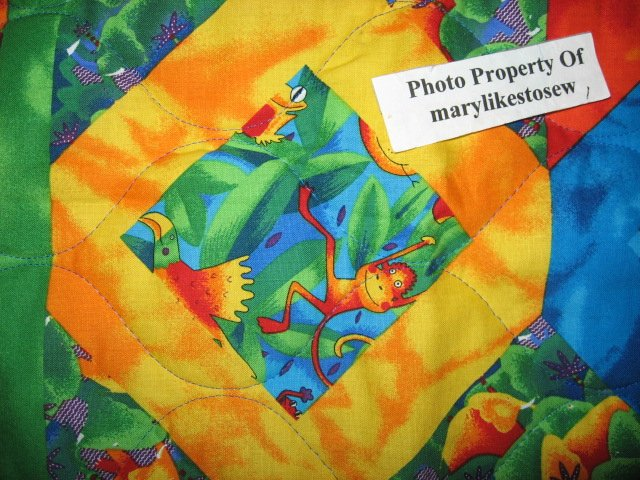 Image 2 of Jungle animals Bird Frog Monkey Tropical Baby crib fabric quilt