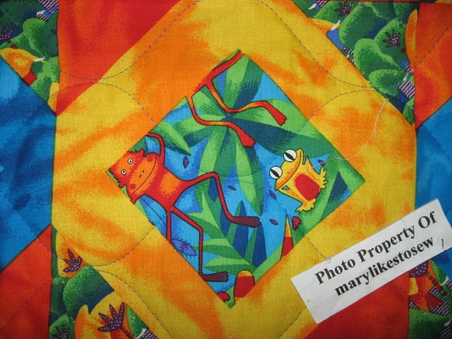 Image 4 of Jungle animals Bird Frog Monkey Tropical Baby crib fabric quilt