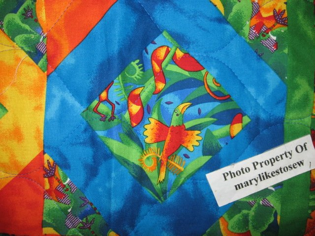 Image 1 of Jungle animals Bird Frog Monkey Tropical Baby crib fabric quilt
