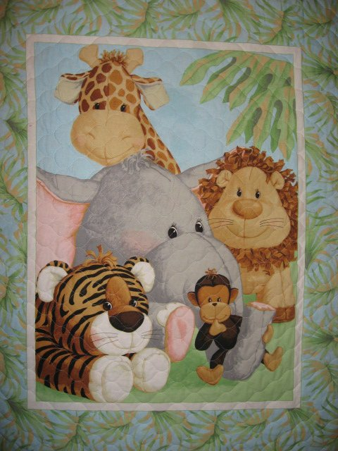 Patty Reed Jungle Animals Tigers Monkeys Giraffes Baby crib quilt/