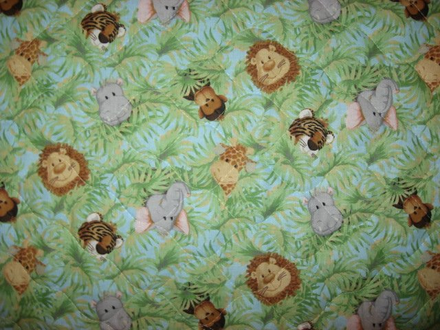 Image 2 of Patty Reed Jungle Animals Tigers Monkeys Giraffes Baby crib quilt/