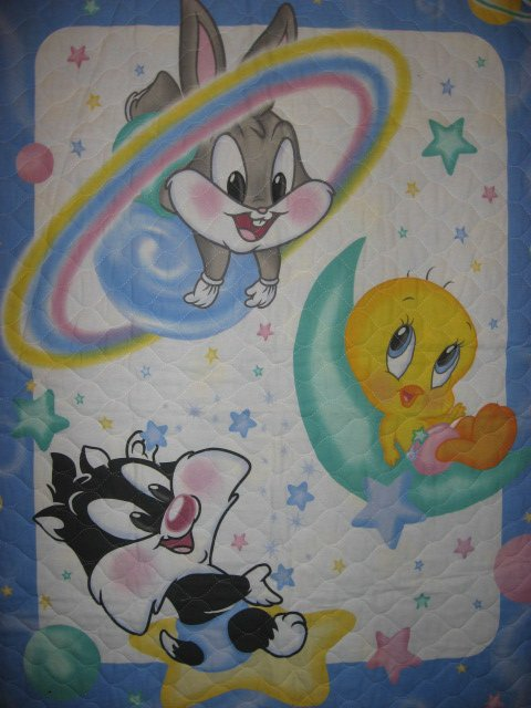 Tweety Bugs Sylvester baby Looney Tunes cotton crib quilt out of print