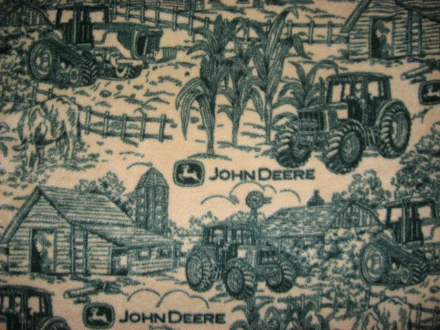Fleece Blanket John Deere Tractor  Logo Farm Toile  Anti pill