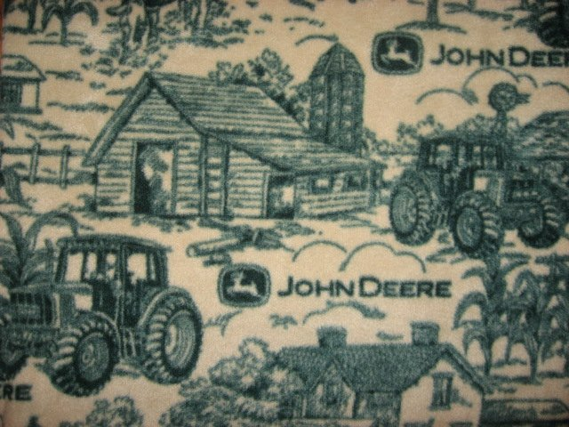 Image 1 of  John Deere Tractor  Logo Farm Toile  Anti pill Fleece Blanket
