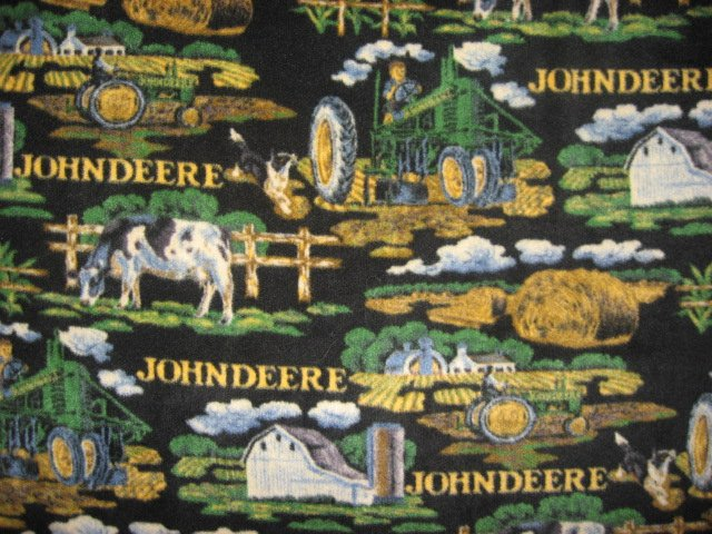 John Deere Tractor Barn Farm  fleece Blanket Throw antipill black 45x58  /