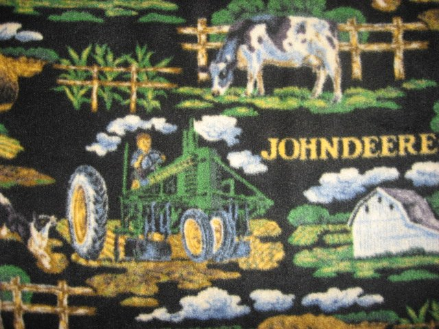 Image 1 of John Deere Fleece  Bed Blanket Fathers Day Man Cave  Farm Barn Tractor Cow