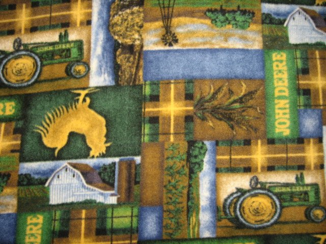 John Deere Tractor Rooster Farm Anti pill Plaid  Fleece Blanket Throw