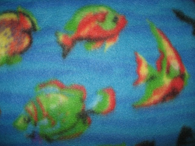 Image 1 of Fish in the Sea whimsical Child bed size fleece blanket 44