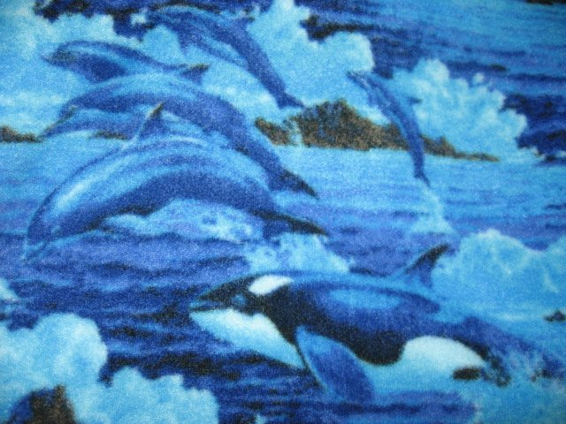 Image 0 of Dolphins Whales Waves child bed size anti pill fleece blanket 36