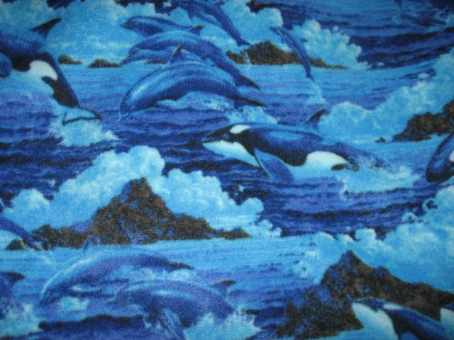 Image 1 of Dolphins Whales Waves child bed size anti pill fleece blanket 36