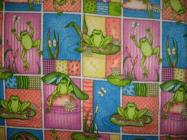 Amphibian Frogs and Lily Pads child bed size fleece blanket 36 X 59