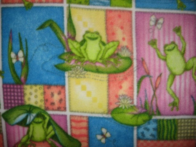 Image 1 of Amphibian Frogs and Lily Pads child bed size fleece blanket 36