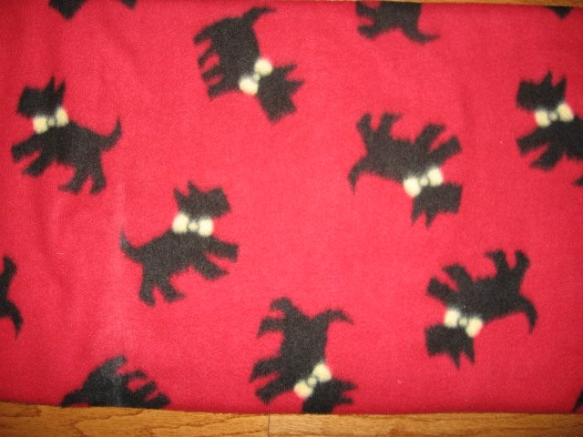 Image 0 of Scottie Dog with Bow red Fleece Blanket 46 by 60