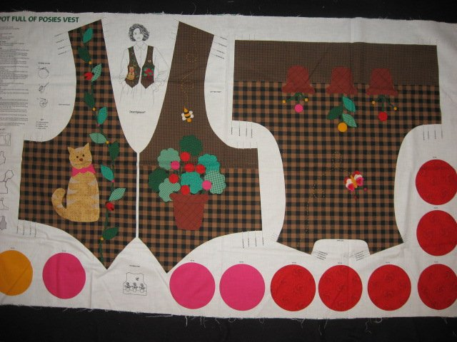 Brown checked Vest 100% cotton fabric Panel with Cat and yoyo flowers to sew