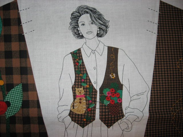 Image 1 of Brown checked Vest 100% cotton fabric Panel with Cat and yoyo flowers to sew