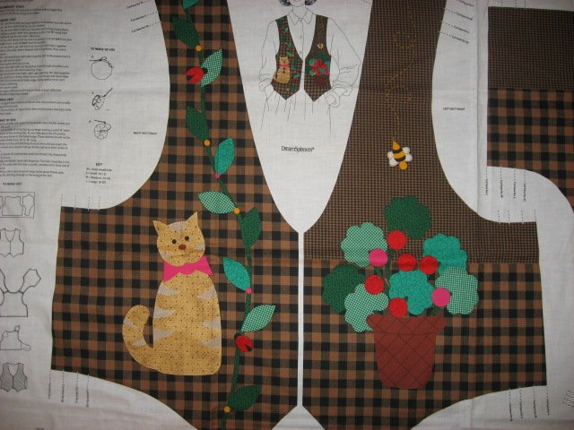 Image 2 of Brown checked Vest 100% cotton fabric Panel with Cat and yoyo flowers to sew