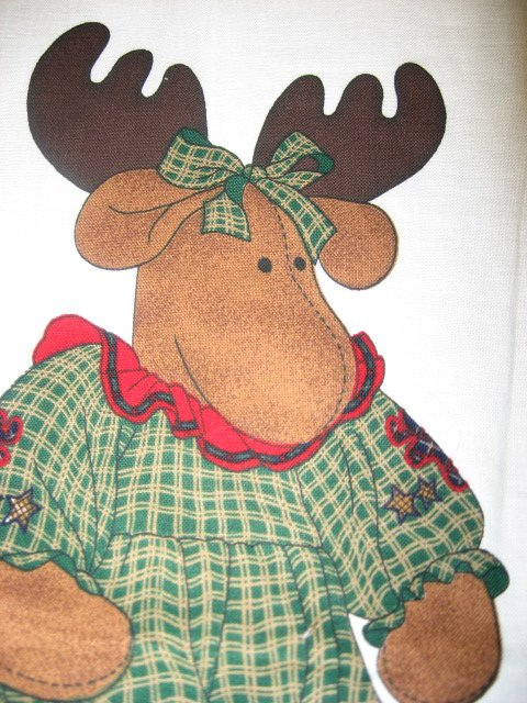 Christmas moose animal 24 doll fabric Panel to sew stuff and dress