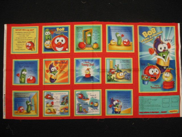 Veggie Tales baby Soft book fabric Panel to Sew Teach a child to help others /