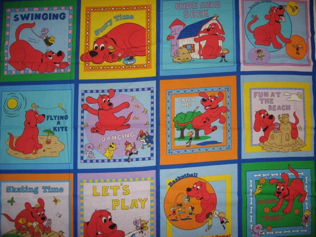 Clifford The Big Red Dog baby Soft book fabric or wall Panel to Sew