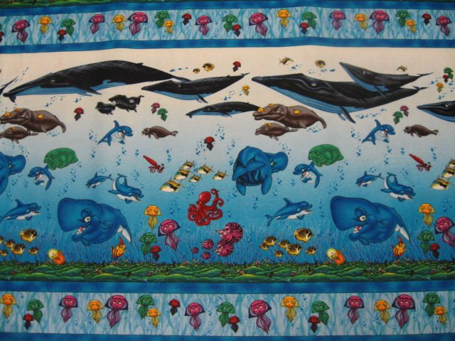 Artist wyland whales fish sea life new soft sewing cotton for Solar system fleece fabric