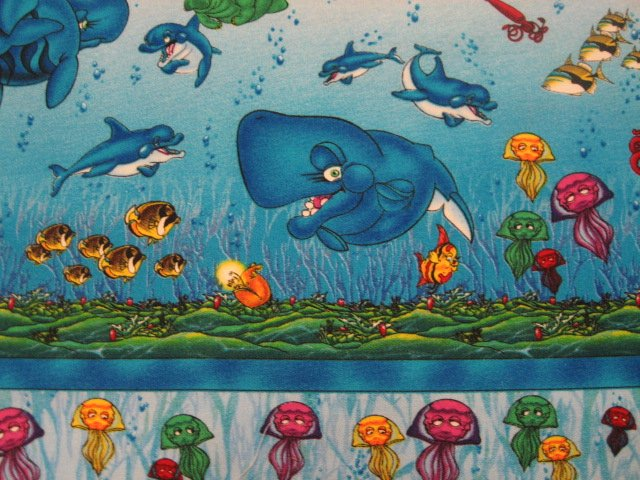 Artist Wyland Whales fish sea life New soft sewing cotton Fabric By The Yard