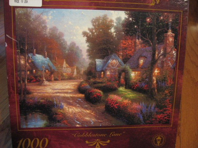 Thomas Kinkade Cobblestone Lane 1000 piece Puzzle  oversized year 1997 new