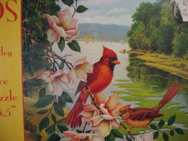 Image 1 of Cardinal Red Birds Magnolia 550 pc Puzzle 18 1/2