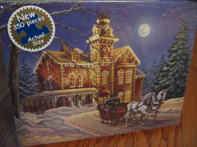 Image 0 of Moonlight Travel Horse sleigh Victorian House sealed 350 pieces puzzle 2006