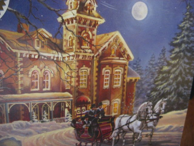 Image 1 of Moonlight Travel Horse sleigh Victorian House sealed 350 pieces puzzle 2006